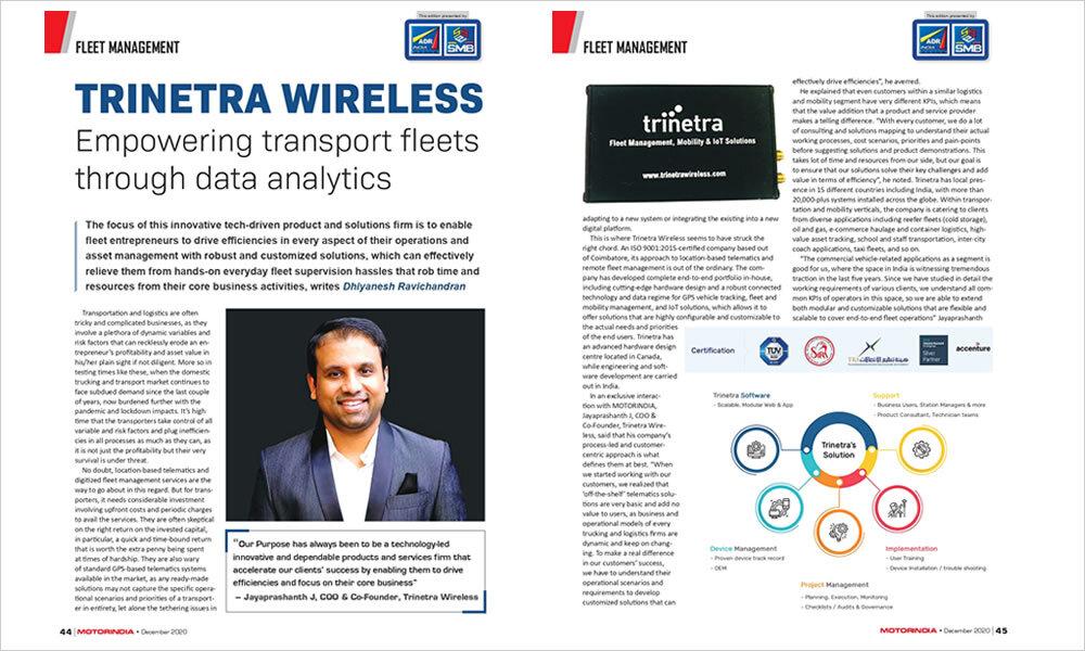 "MOTORINDIA features Trinetra in article – ""Empowering transport fleets through data analytics"""
